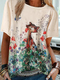Cartoon Gato Flowers Print Plus Talla T-shirt