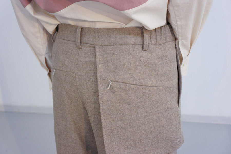 Wide Organ Trousers / BEIGE