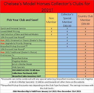 Chelsea's Model Horses Collector's Club Memberships for 2021