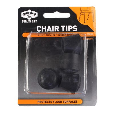 CHAIR TIPS ROUND BLACK RUBBER PACK 4