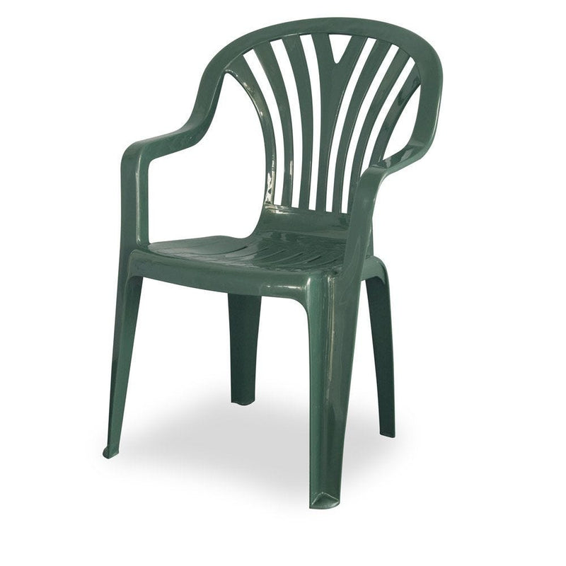 PLASTIC CHAIR MID BACK GREEN