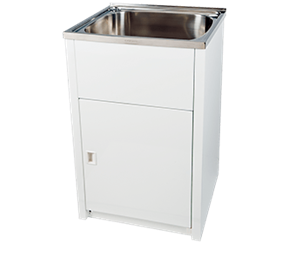 LAUNDRY TUB WHITE STAINLESS STEEL 45L