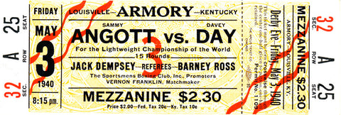 Sammy Angott-Davey Day Official Onsite Boxing Ticket (1940)