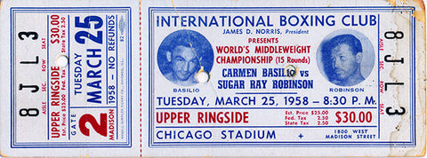 Carmen Basilio-Ray Robinson II Official Onsite Boxing Ticket (1958)