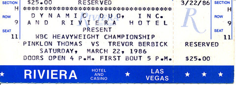 Trevor Berbick-Pinklon Thomas Official Onsite Boxing Ticket (1986)