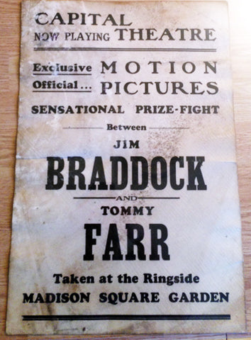 Jim Braddock-Tommy Farr Original Fight Film Boxing Poster (1938)