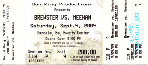 Lamon Brewster-Kali Meehan Official Onsite Boxing Ticket (2004)