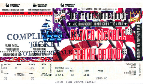 Oliver McCall-Frank Bruno Official Onsite Boxing Ticket (1995)