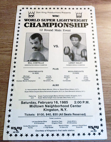 Billy Costello-Leroy Haley Official Onsite Boxing Poster (1985)
