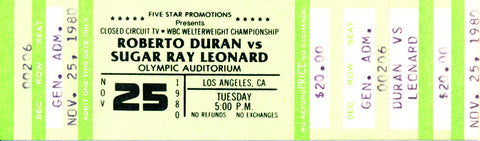 Roberto Duran-Sugar Ray Leonard I Official Closed Circuit Boxing Ticket (1980)