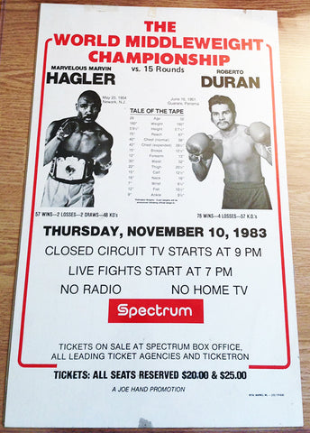 Marvin Hagler-Roberto Duran Closed Circuit Boxing Poster (1983)