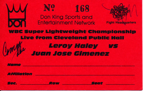 Leroy Haley-Juan Jose Gimenez Official Boxing Credential (1982)