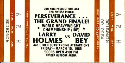 Larry Holmes-David Bey Official Onsite Stubless Boxing Ticket (1985)