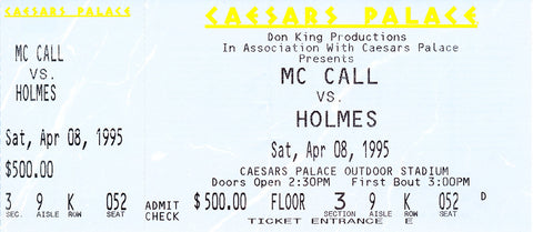 Oliver McCall-Larry Holmes Official Onsite Boxing Ticket (1995)
