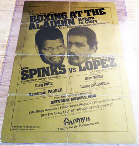 Leon Spinks-Eddie Lopez Official Onsite Boxing Poster (1980)