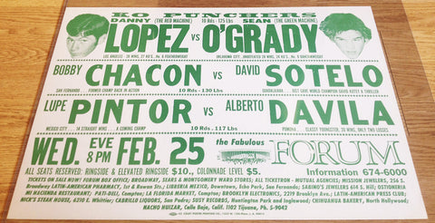 Danny Lopez-Sean O'Grady Official Onsite Boxing Poster (1976)