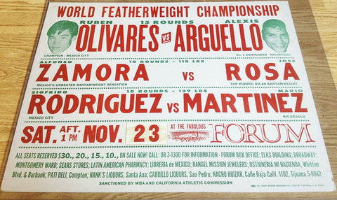 Ruben Olivares-Alexis Arguello Official Onsite Boxing Poster (1974)