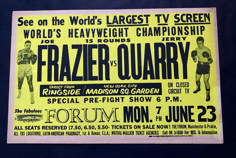 FRAZIER, JOE / JERRY QUARRY POSTER CLOSED CIRCUIT (1969)