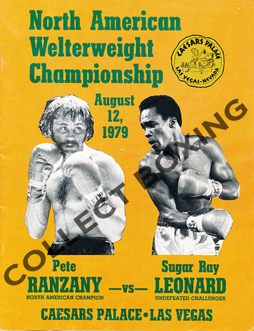 SUGAR RAY LEONARD-PETE RANZANY OFFICIAL PROGRAM (1979)