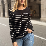 Pull marinière noir à rayures blanches