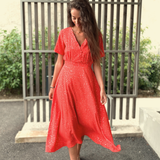 Robe mi-longue orange