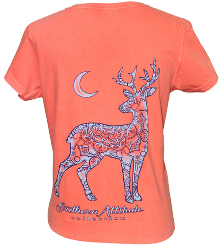 V-Neck Womens Moon Deer