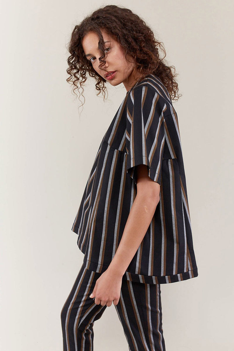 STRIPED GATHER BLOUSE