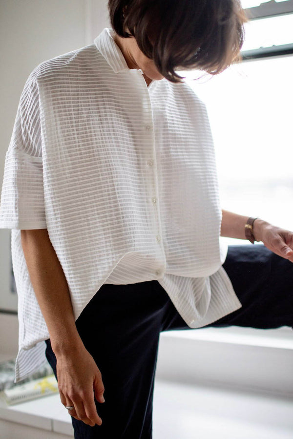 COLLAR SHIRT TUNIC _ Pleated Cotton
