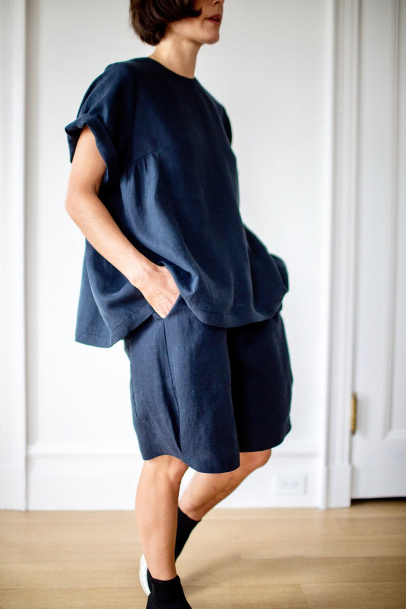SS19_Gather Blouse+Drapey Shorts_Navy.jpg