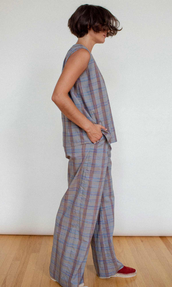 WIDE LEG TROUSER - PLAID