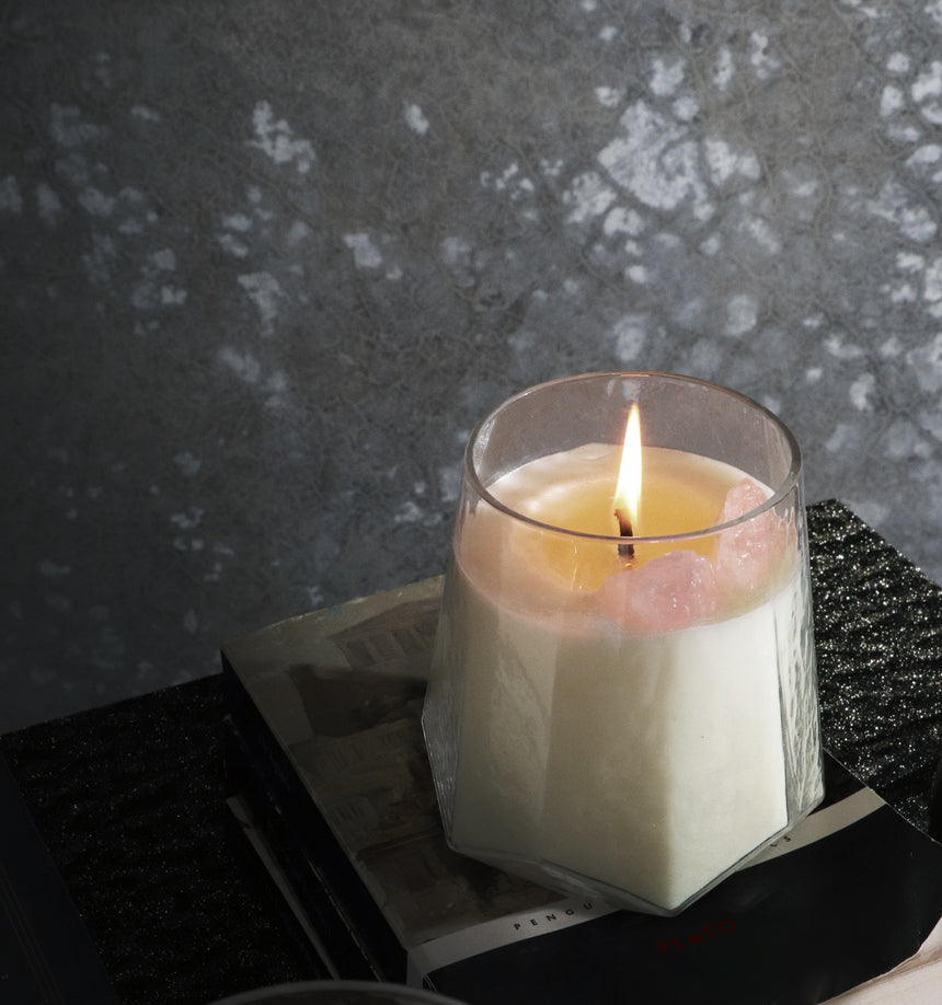 SOY, CANDLE, CRYSTALS, LIFESTLY, HOME, DÉCOR, QUARTZ,