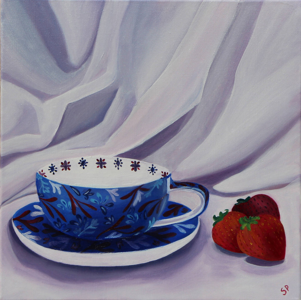 A Moment for Tea ii, Oil Painting by Sudha Palani Artist