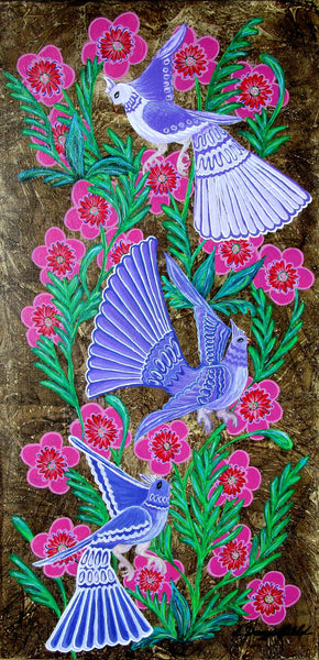 Birds And Blooms No 3, Acrylic Painting by Lisa Dangerfield Artist