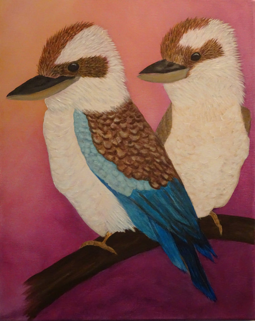 Two Kookaburras, Acrylic Painting by Julie-Anne Gatehouse Amazing Corn Art Studio Artist