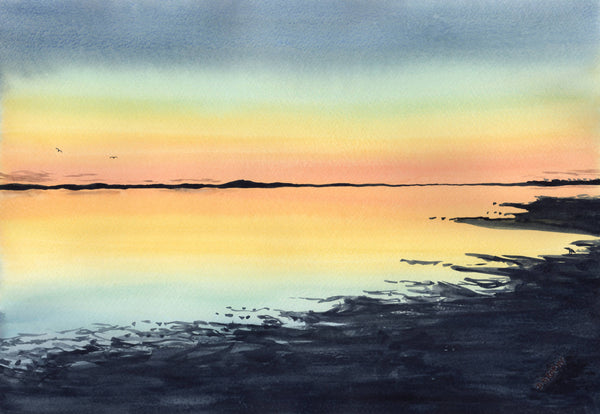 Mandurah Sunset, Watercolour Painting by Debbie Brophy Artist