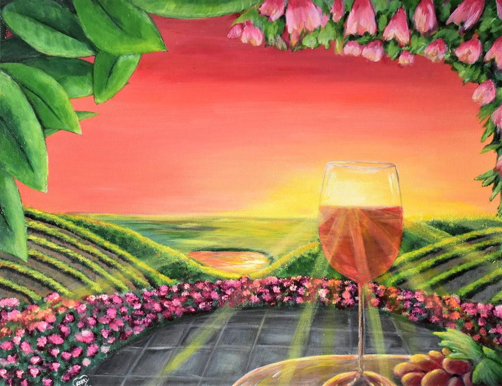 Wine Time in the Ferguson, Acrylic Painting by Kerry Sandhu Artist