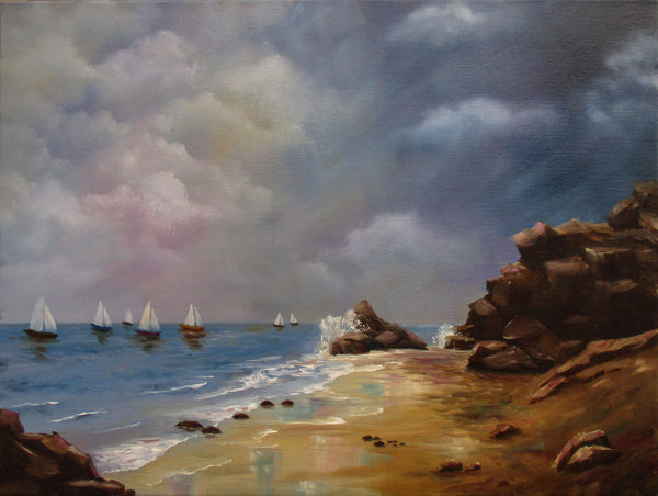 Sunday sailing, Black rock, Oil Painting by Debra Dickson Artist