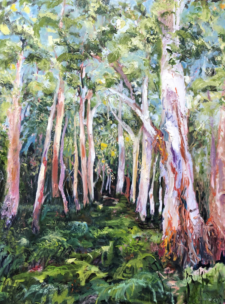 NORTON SUMMIT GUM TREES, Oil Painting by maureen finck Artist