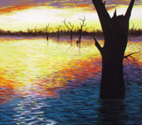 Sunset over Lake Nillahcootie, Acrylic Painting by Debra Dickson Artist