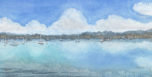 Peaceful Moorings, Watercolour Painting by Debbie Brophy Artist