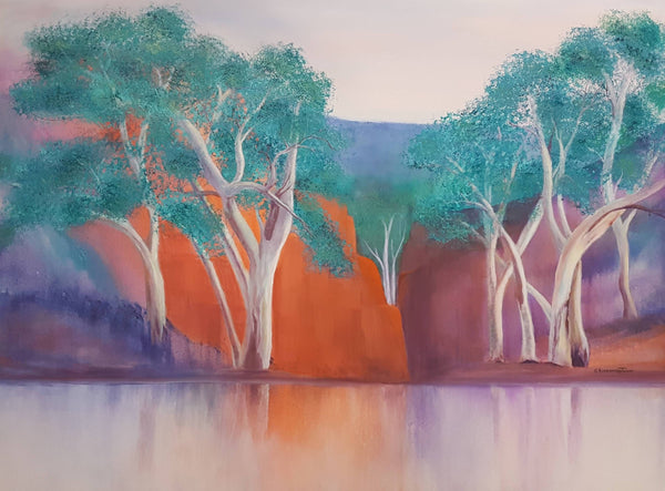 River Gums, Acrylic Painting by Clare Riddington Jones Artist