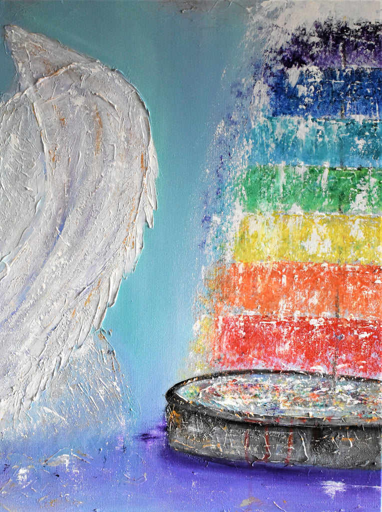 Angels Brought Me Here, Acrylic Painting by Kerry Sandhu Artist