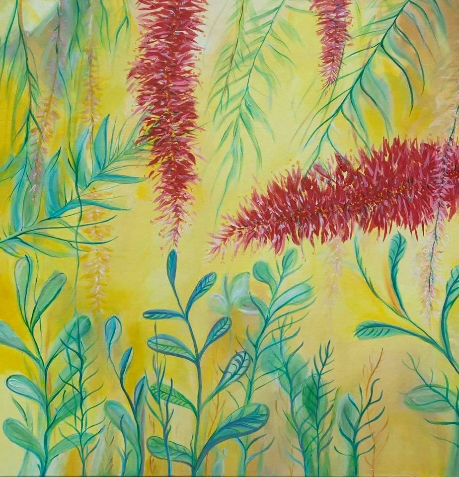 Callistemon, Acrylic Painting by Anne-Maree Wise Artist