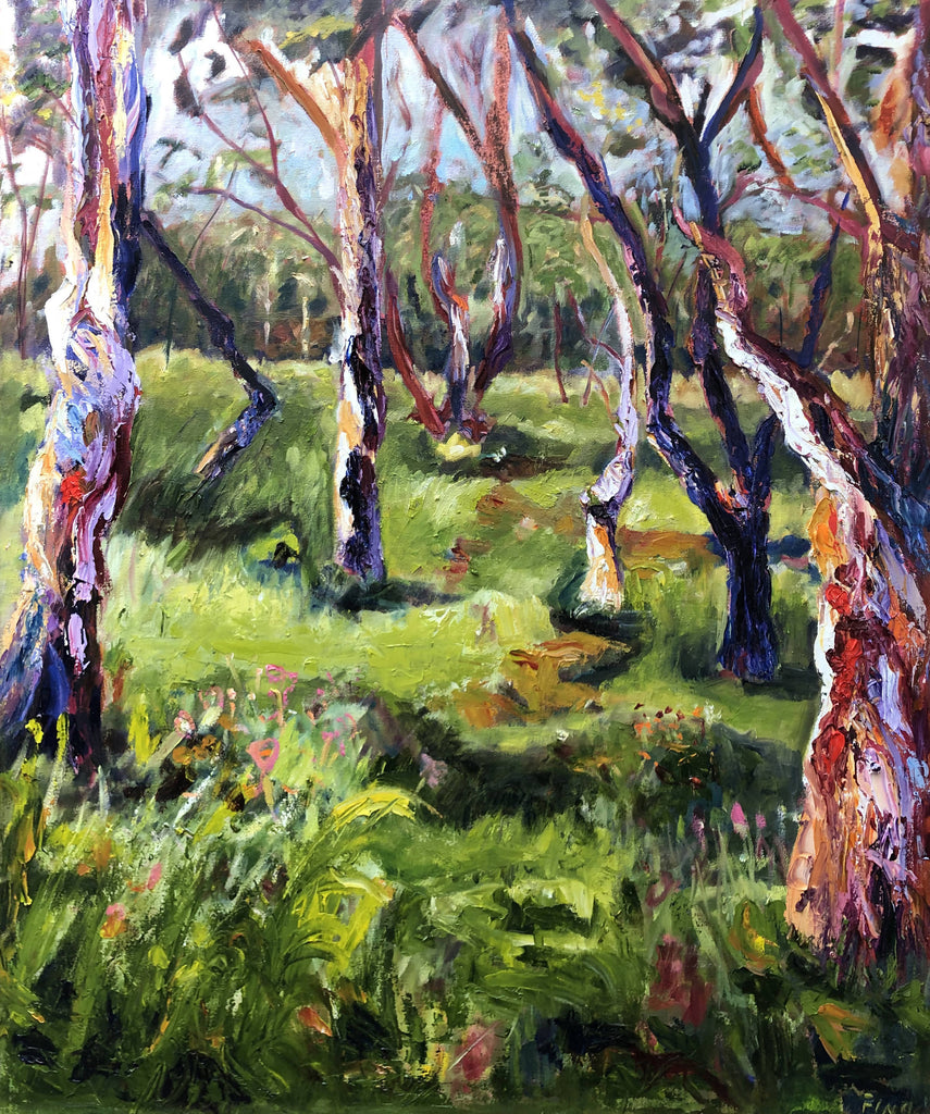 STRINGYBARK TREES, Oil Painting by maureen finck Artist
