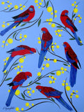 Crimson Rosellas In Wattle, Acrylic Painting by Lisa Dangerfield Artist