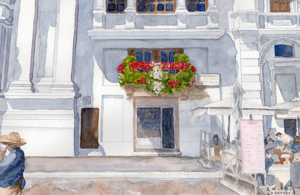 Navona Square, Watercolour Painting by Debbie Brophy Artist