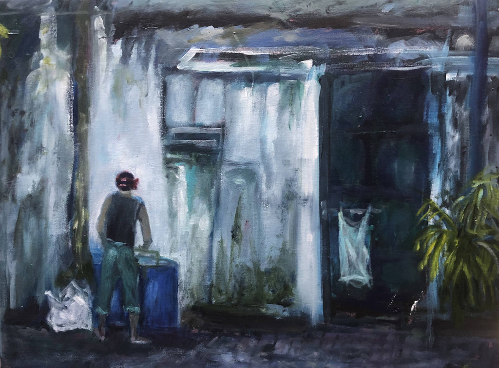 LAUNDRY DAY IN KOLKATA, INDIA, Oil Painting by maureen finck Artist