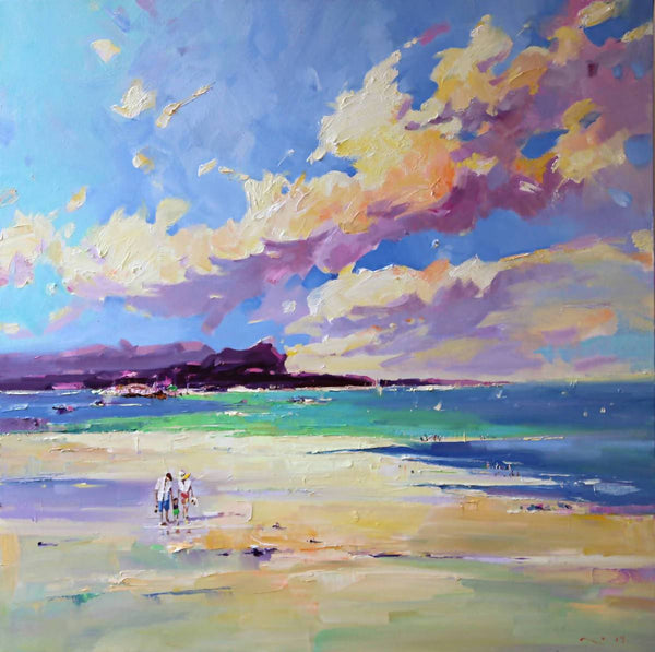 Our Beach Day (Framed), Oil Painting by Li Zhou Artist