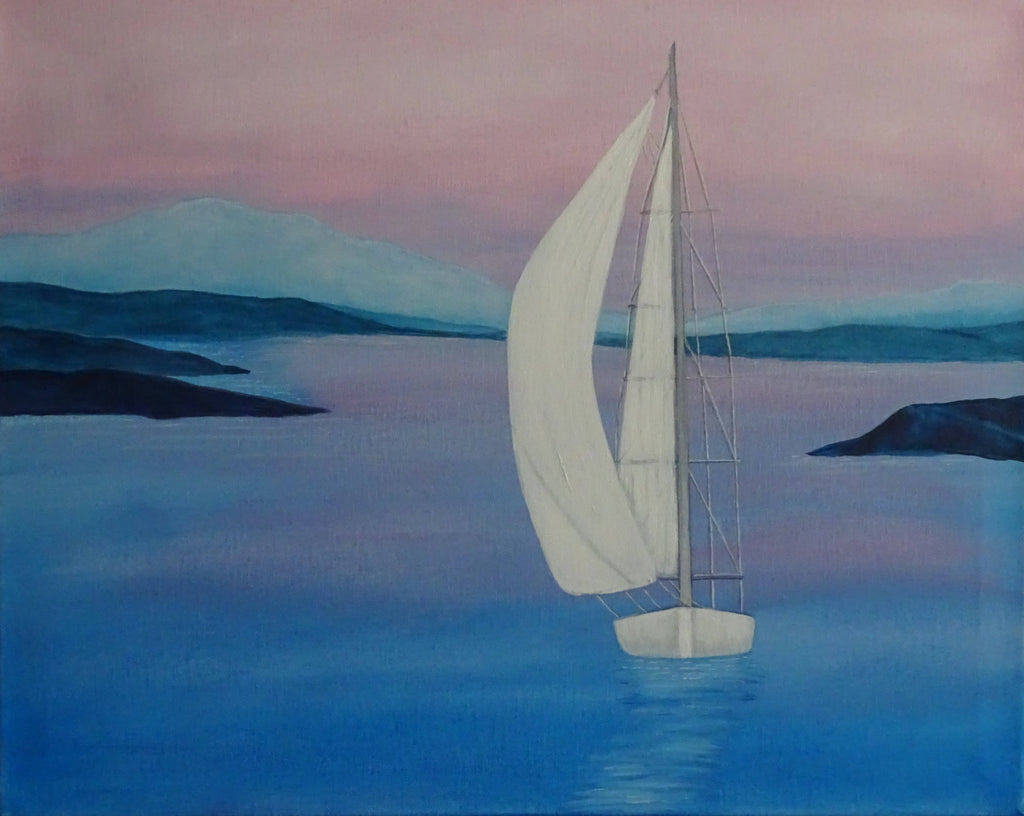Yacht On The Bay, Acrylic Painting by Julie-Anne Gatehouse Amazing Corn Art Studio Artist