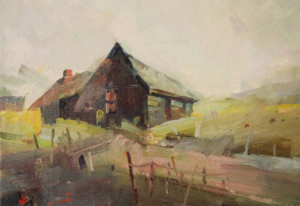 Old Hay Shed Near Tolmie Vic, Oil Painting by Li Zhou Artist